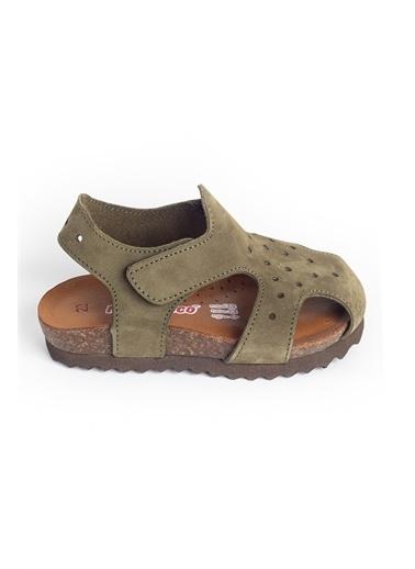 minipicco Minipicco Unısex Haki Deri Ortopedik Destekli Çocuk Sandalet Haki